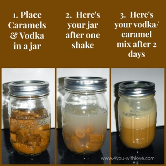 salted caramel vodka in jars